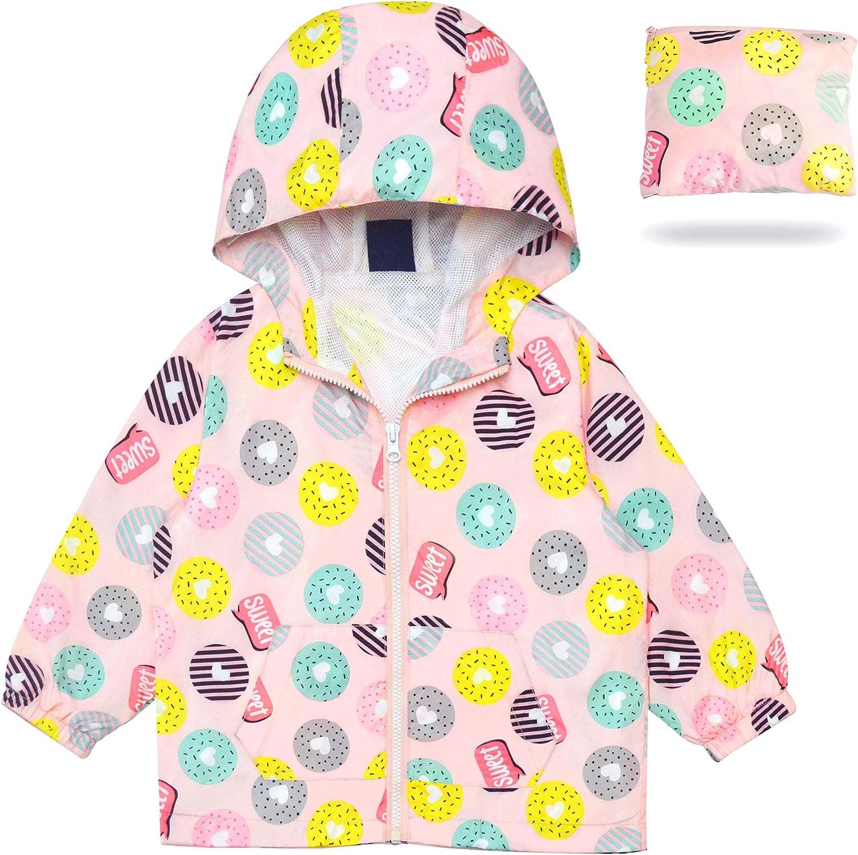 MORCOE Toddler Girls/' Outdoor Travel Jackets Lightweight Quick-Dry Packable Zipper Hooded Casual Outerwear Kids Coat