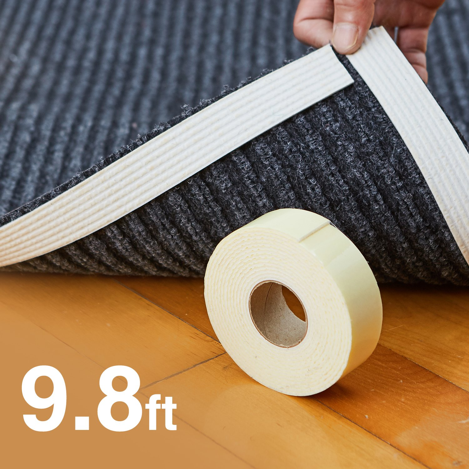 "Rug Gripper, Best Non-Slip Washable Carpet Tape ""Vacuum Tech"" -New Materials to Anti Curling Rug Grippers : Keep Place and Make Corner Flat and Easily Peel Off When Need. Reusable Carpet Gripper by Home Techpro"