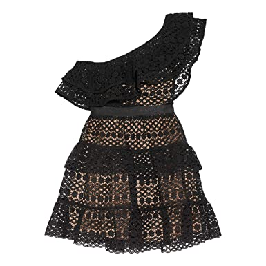 e0be44fe4259a Image Unavailable. Image not available for. Color: Self Portrait  One-Shoulder Tiered Guipure lace Mini Dress ...
