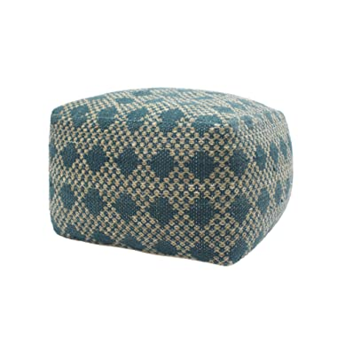 Great Deal Furniture 307627 Betty Large Square Casual Pouf, Boho, Beige and Teal Yarn