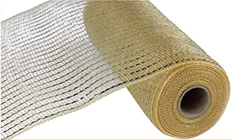 10 Inches x 30 Feet Champagne, Gold Foil Wide Foil Deco Poly Mesh Ribbon