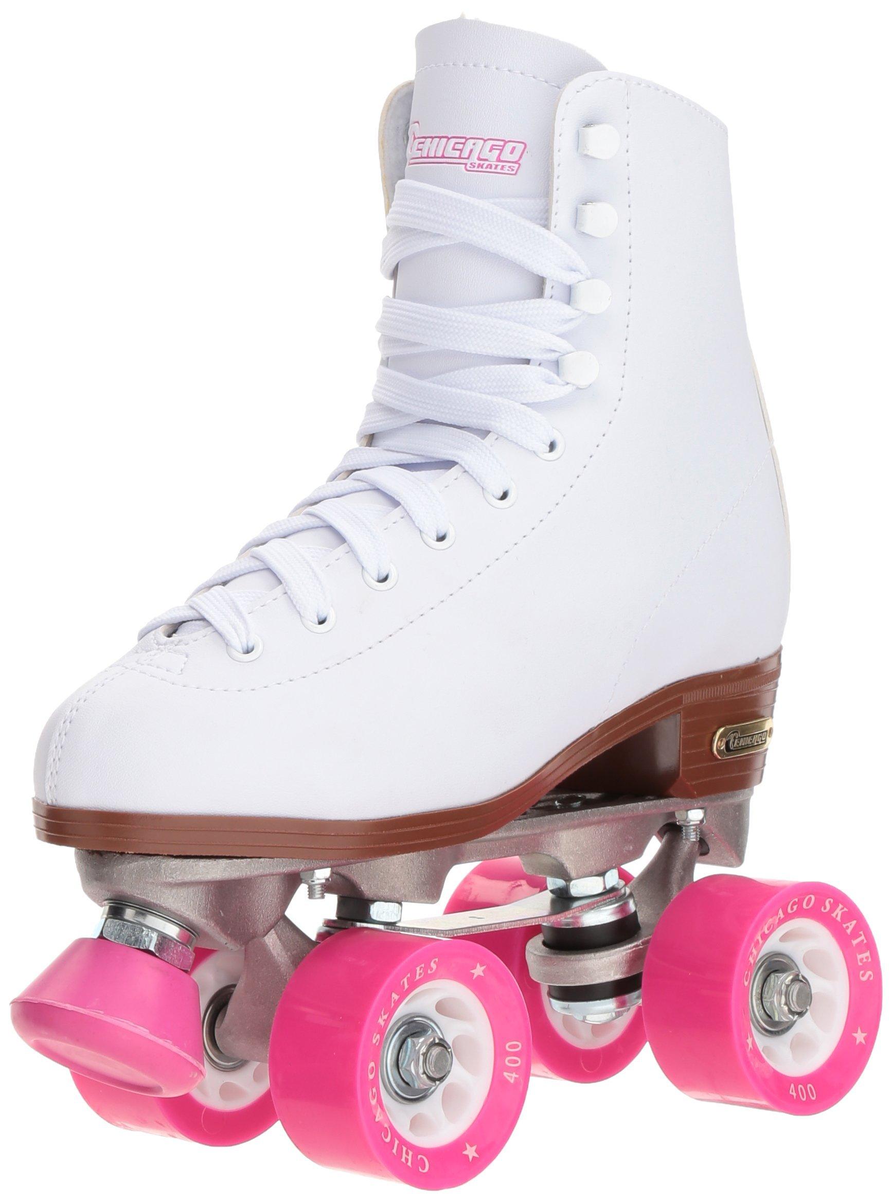 Chicago Women's Classic Roller Skates - White Rink Quad Skates - Size 9 (Renewed)