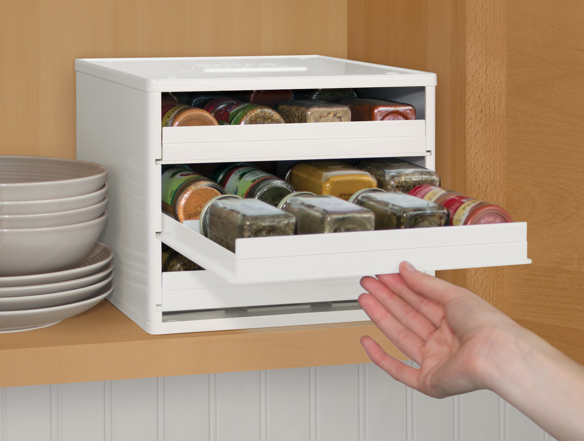 YouCopia Classic SpiceStack 24-Bottle Spice Organizer with Universal Drawers, White by YouCopia (Image #4)