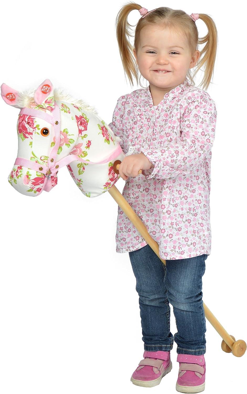 Pink Papaya Caballo de Juguete, Flower, Bonito Caballo de Juguete de Tela con Sonido: Relincho y Sonido de galopeo - Color: Modelo de Flores con Melena Blanca