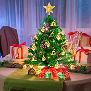 Mini Artificial Tabletop Christmas Tree, 20 Inch Xmas Decor Small Tree with Multicolored Lights Battery Operated, Holly Berries, Pine Cones, Star Tree Topper & Ornaments for Holiday Season Decorations