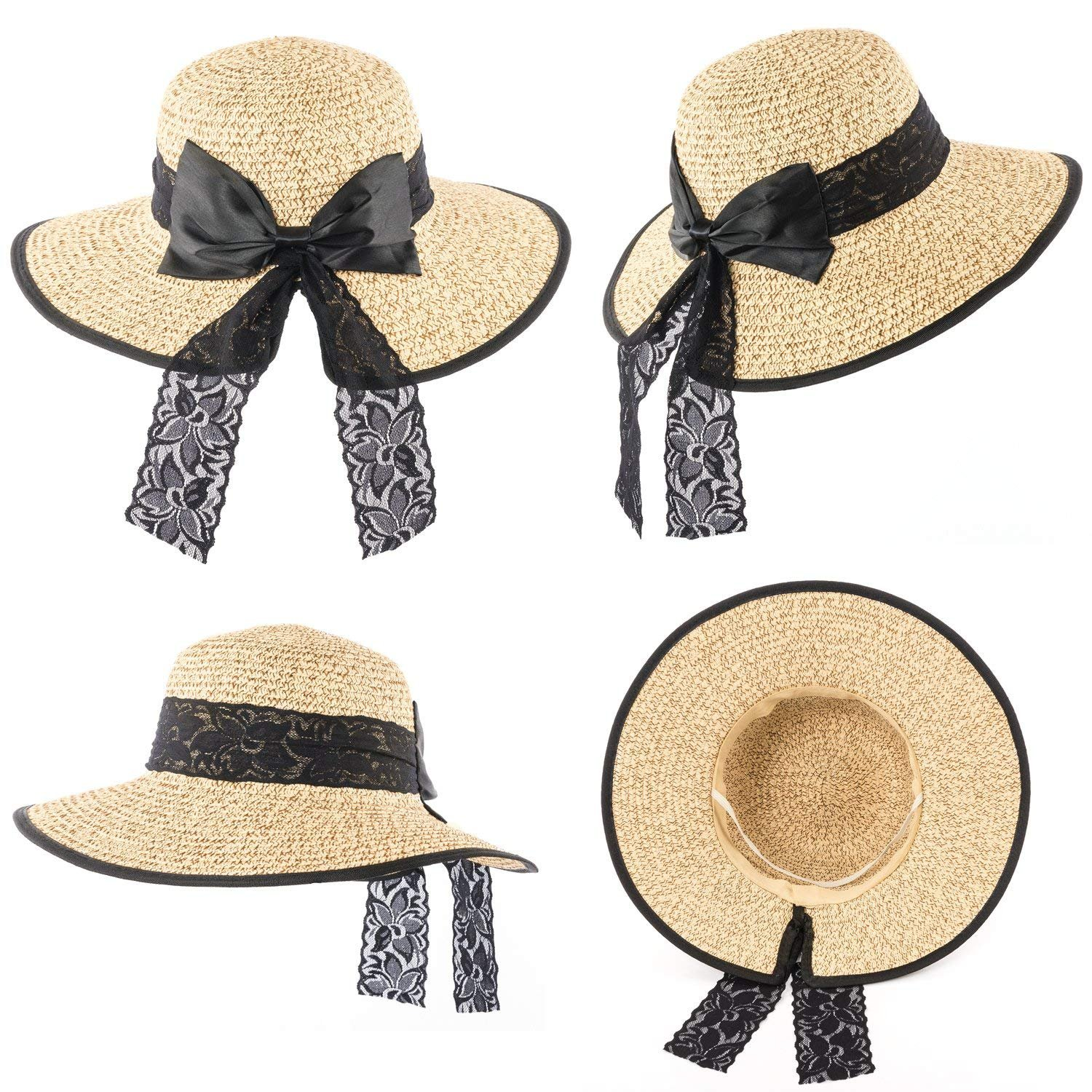 4840feaa269a3 Amazon.com  Hollosport Women Fashion Beach Straw Sun Hat