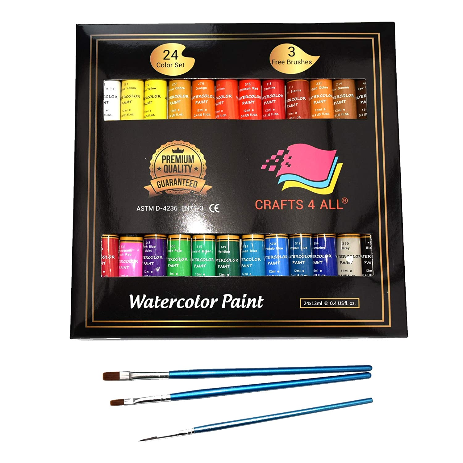 Watercolor Paint Set by Crafts 4 All Premium Quality Art Watercolors Painting Kit for Artists, Students & Beginners - Perfect for Landscape and Portrait Paintings on Canvas (24x12ml) (24x12ml) 4336946295