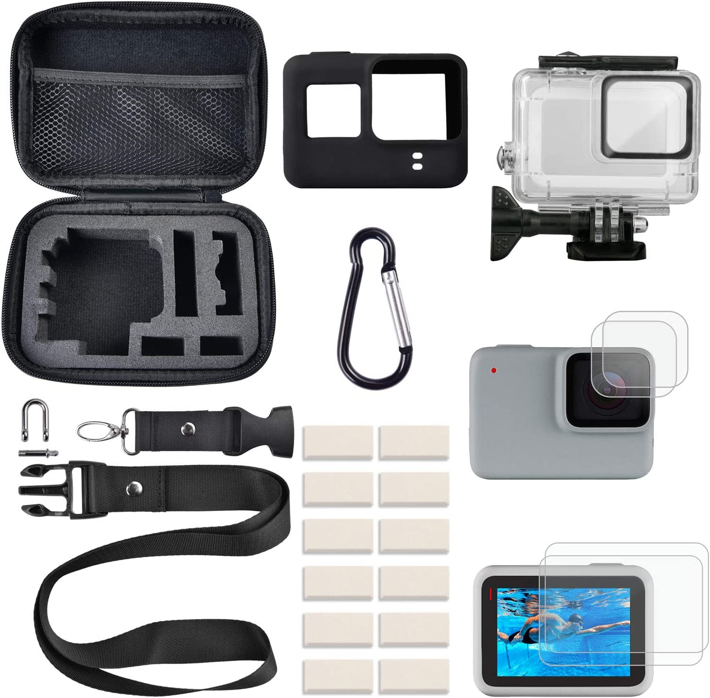 FINEST+ Accessories Kit for GoPro Hero 7 White/Silver Waterproof Housing+Tempered Glass Screen Protector+Carrying Case+Sleeve Case+Carabiner+Anti-Fog Inserts for Go Pro Hero 7White/Silver
