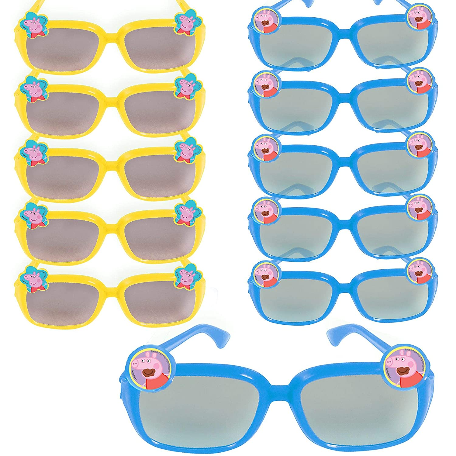 Party City Peppa Pig Sunglasses 24 Count, Birthday Party Favors for Kids, Plastic, 2 Assorted Colors: Blue and Yellow