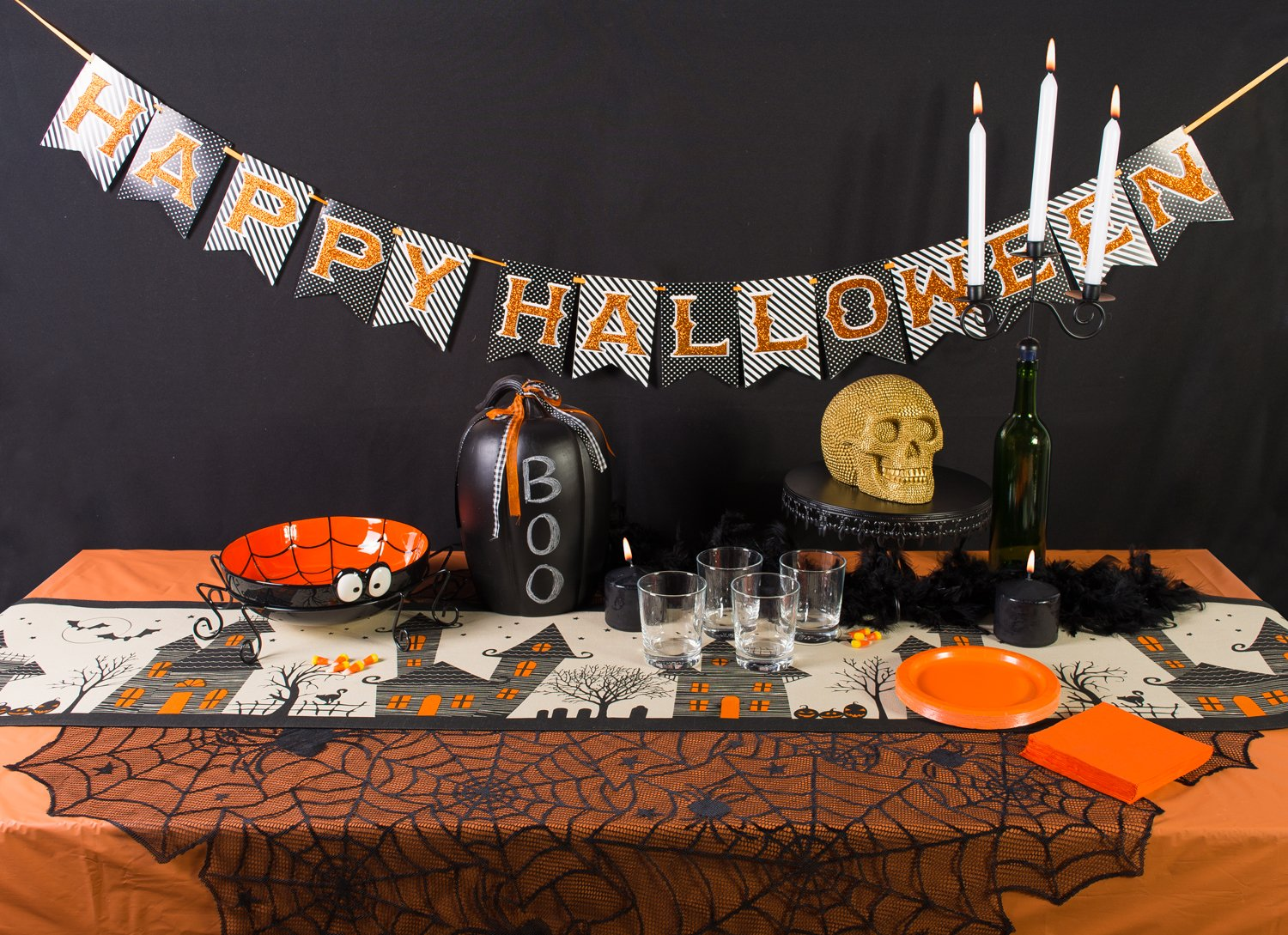 amazoncom dii 100 cotton spooky scary haunted house 14 x 72 halloween table runner home kitchen - Halloween Table