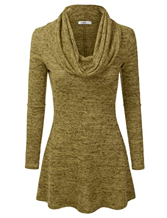Doublju Marled Cowl Neck A-Line Tunic Sweater Dress Top For Women ...