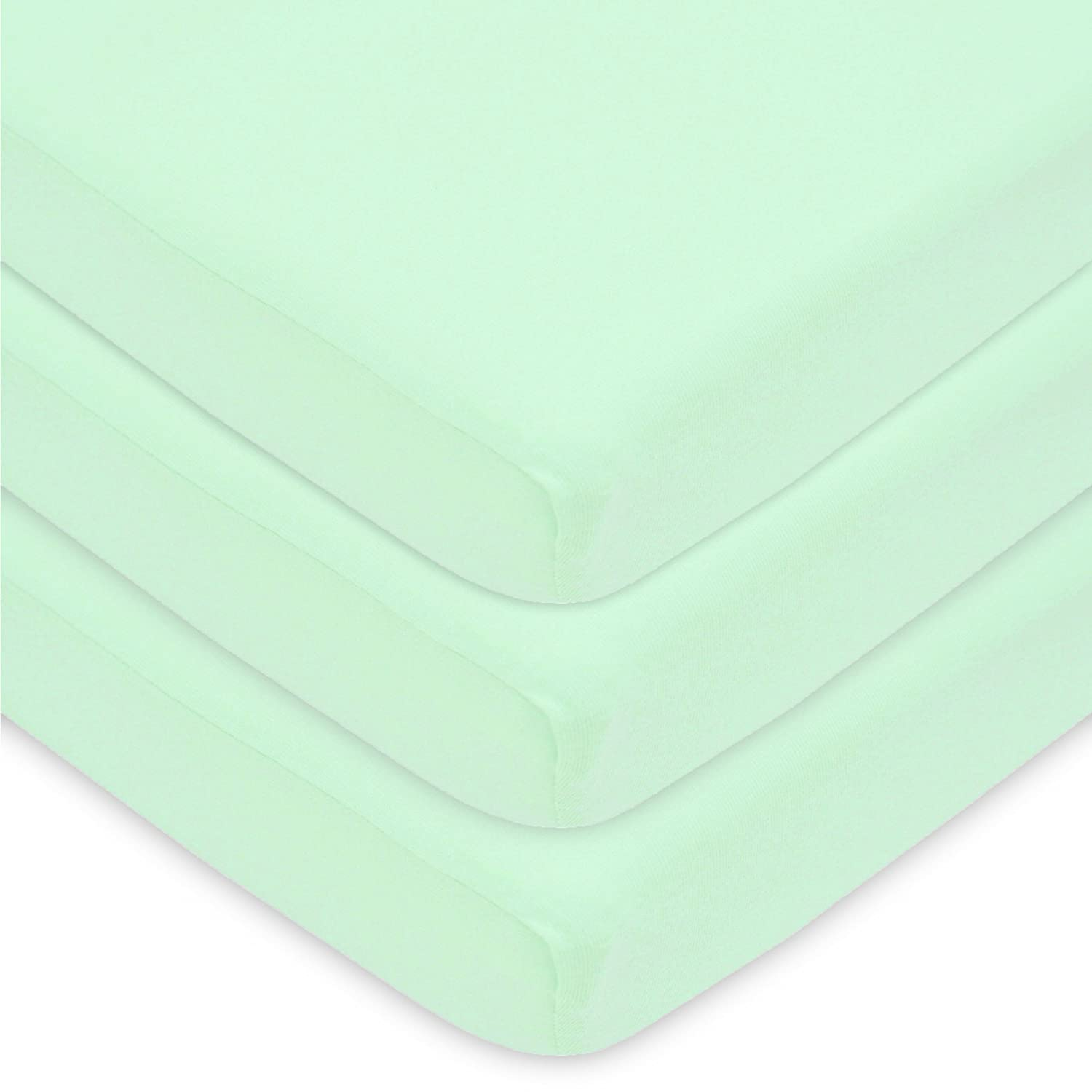 """American Baby Company 100% Natural Cotton Value Jersey Knit Fitted Portable/Mini-Crib Sheet, Mint, 24"""" x 38"""" x 5"""", Soft Breathable, for Boys and Girls, Pack of 3"""