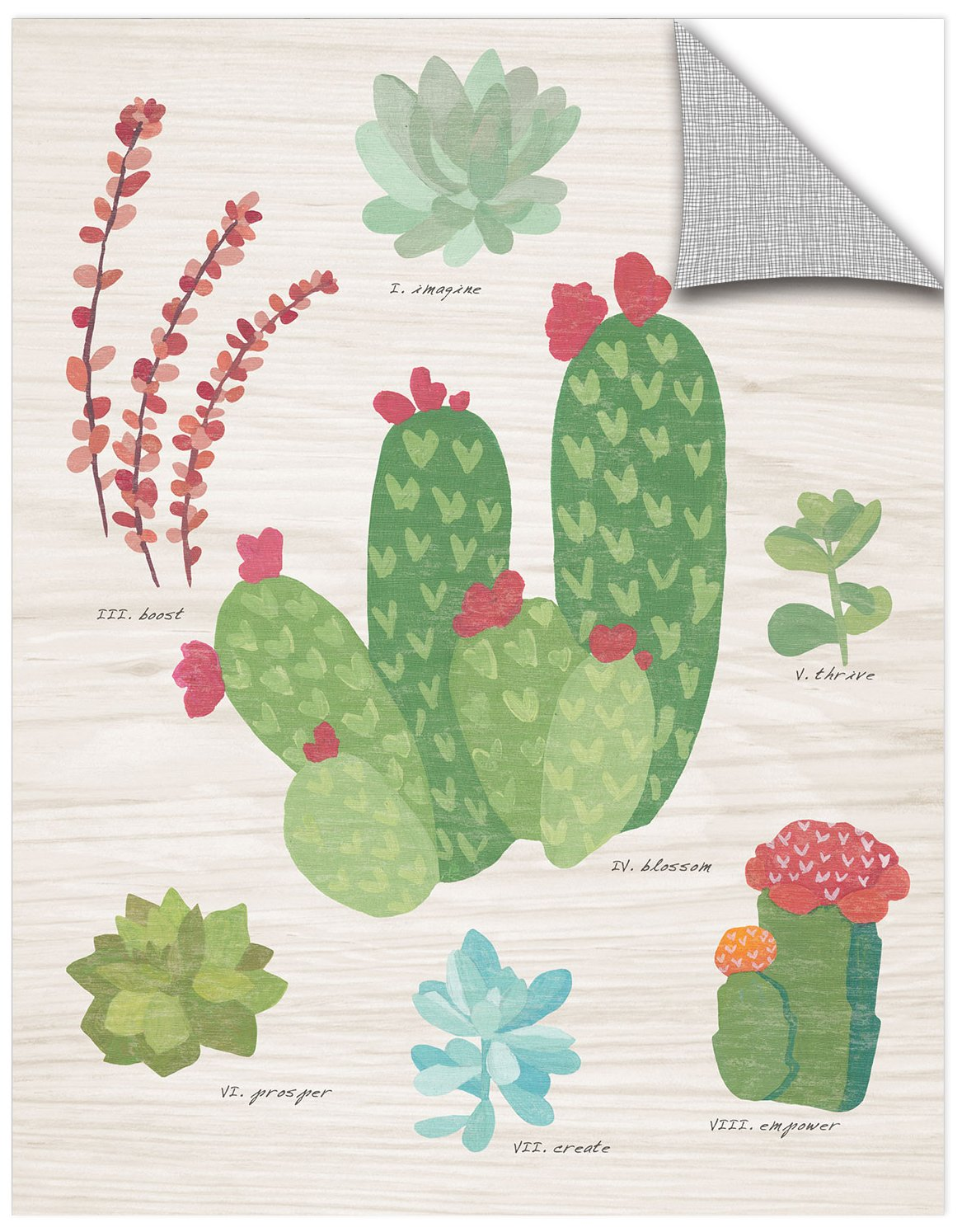 ArtWall Wild Apples Succulent Chart IV on Wood Removable Wall Art Mural 24 x 32