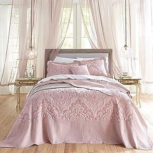 BrylaneHome Amelia Bedspread - Queen, Pale Rose