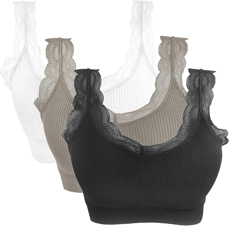 Goldenlight 3 Pack Lace Sports Bras for Women Padded Breathable Bralette Bustier Push Up Vest Top Yoga Running Seamless