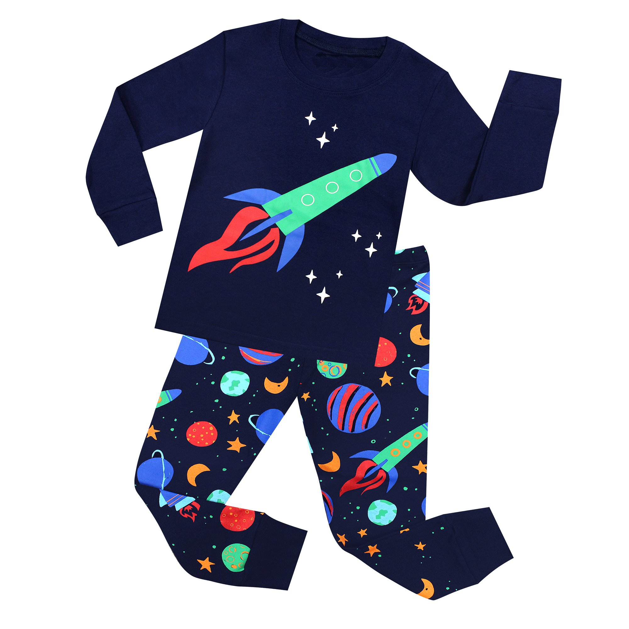 TinaLuLing Rockets Boys Pajamas 100 Cotton Rockets Pajama Pyjamas Children Kids Sleepwear for 2-8 Years (8 Years)