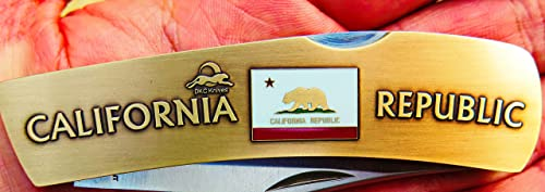 DKC Knives 3 9 18 DKC-1103-B California Bear Republic Knife Custom Hand Engraved Minted in Antique Brass 4.5 oz 6.75 Long Open 2 7 8 Blade 4 Closed Mint Series