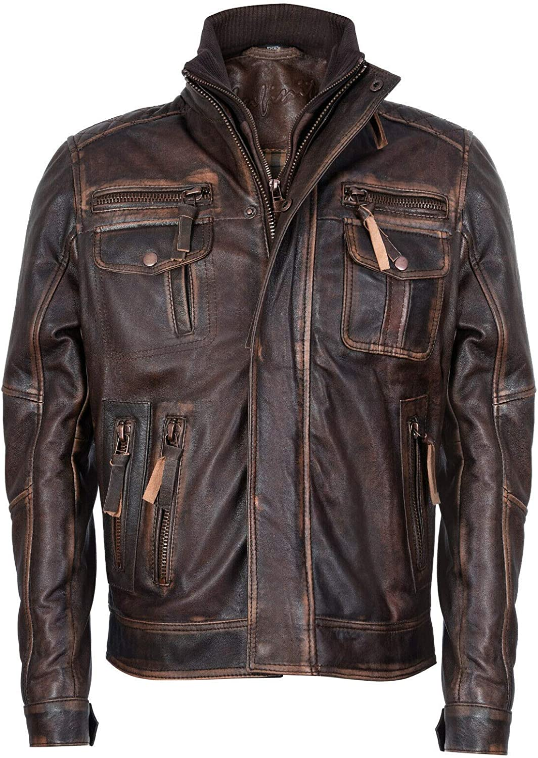 Men's Classic Warm Brown Leather Biker Jacket