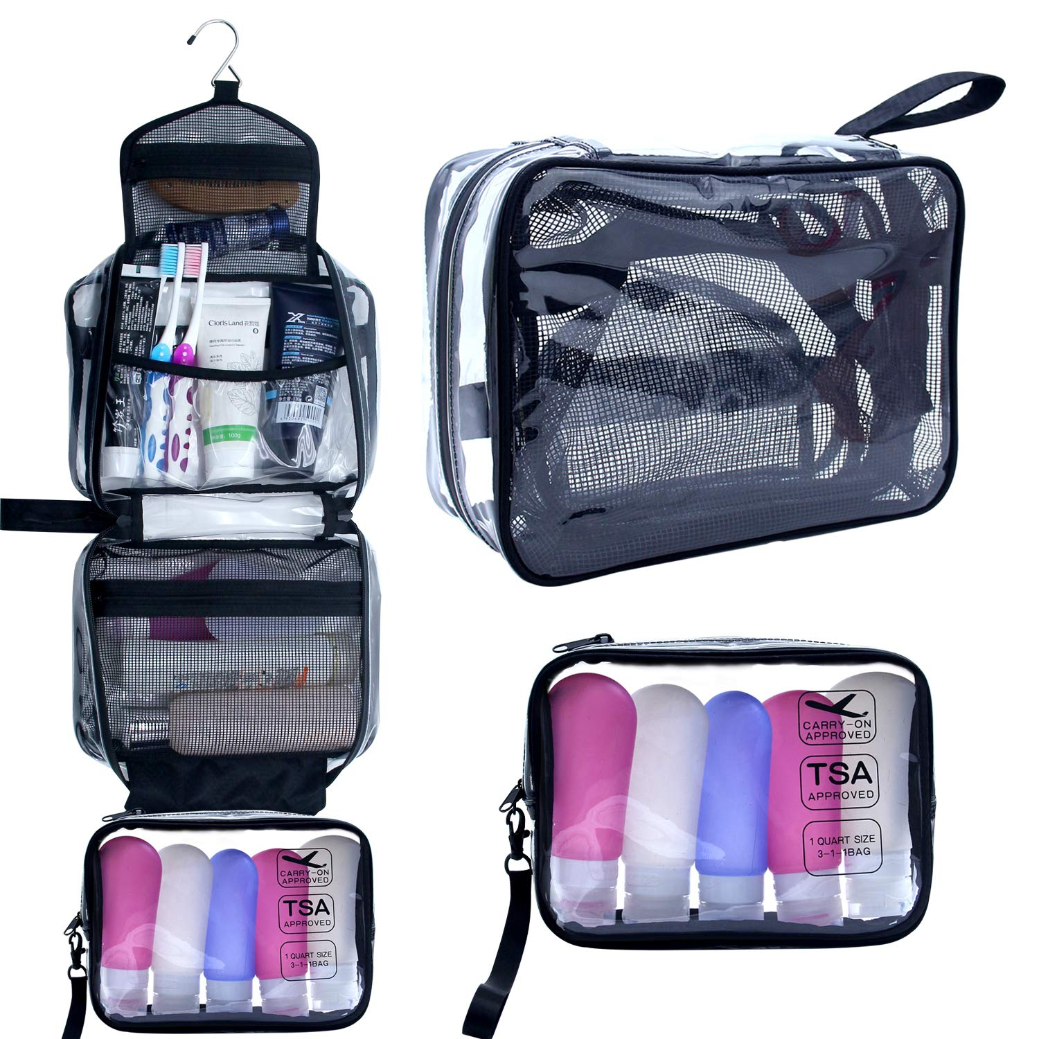 ea181a3d3ad Hanging Toiletry Bag, Clear Travel Toiletry Bag with Detachable TSA  Approved Small Clear Bag Airline 3-1-1 Carry On Compliant Bag Makeup Bag  for Men and ...