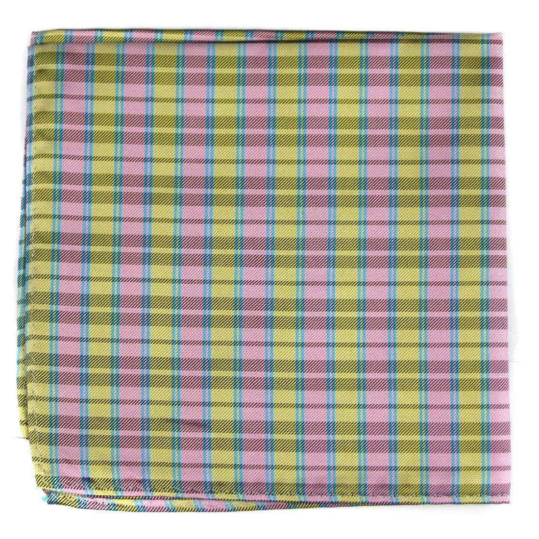 Pink Yellow Aqua Silk Pocket Square