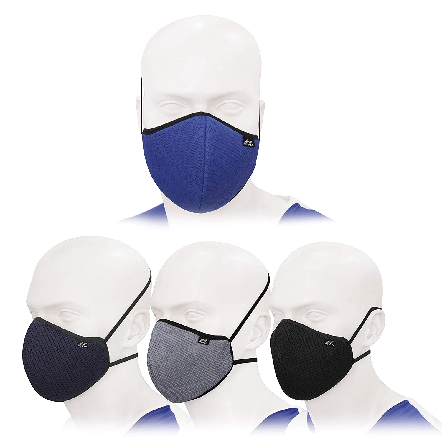 Nivia 3 layer Mask with loops – Pack of 4