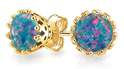 Bling Jewelry Oval Crown Simulated Opal Stud earrings Rose Gold Plated 6mm BliKoLX
