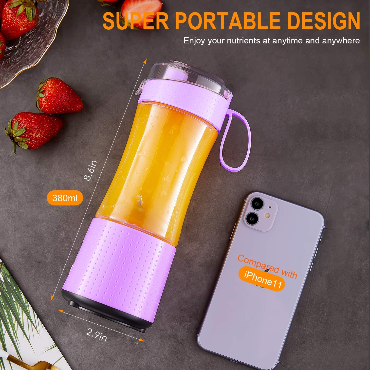Portable Handhold Blender with Drinking Spout and Straws Vaeqozva Personal 3D 6 Blades 4000mAh USB Rechargeable Mini Juicer Cup for Smoothie and Shakes-Navy Blue