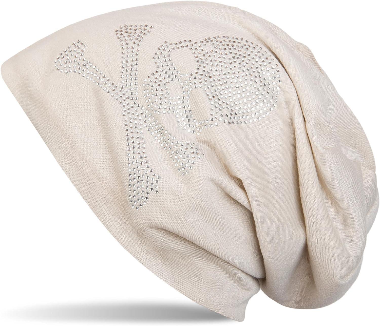 styleBREAKER Bonnet Classique avec Application en Strass en Forme de t/ête de Mort Unisexe 04024034