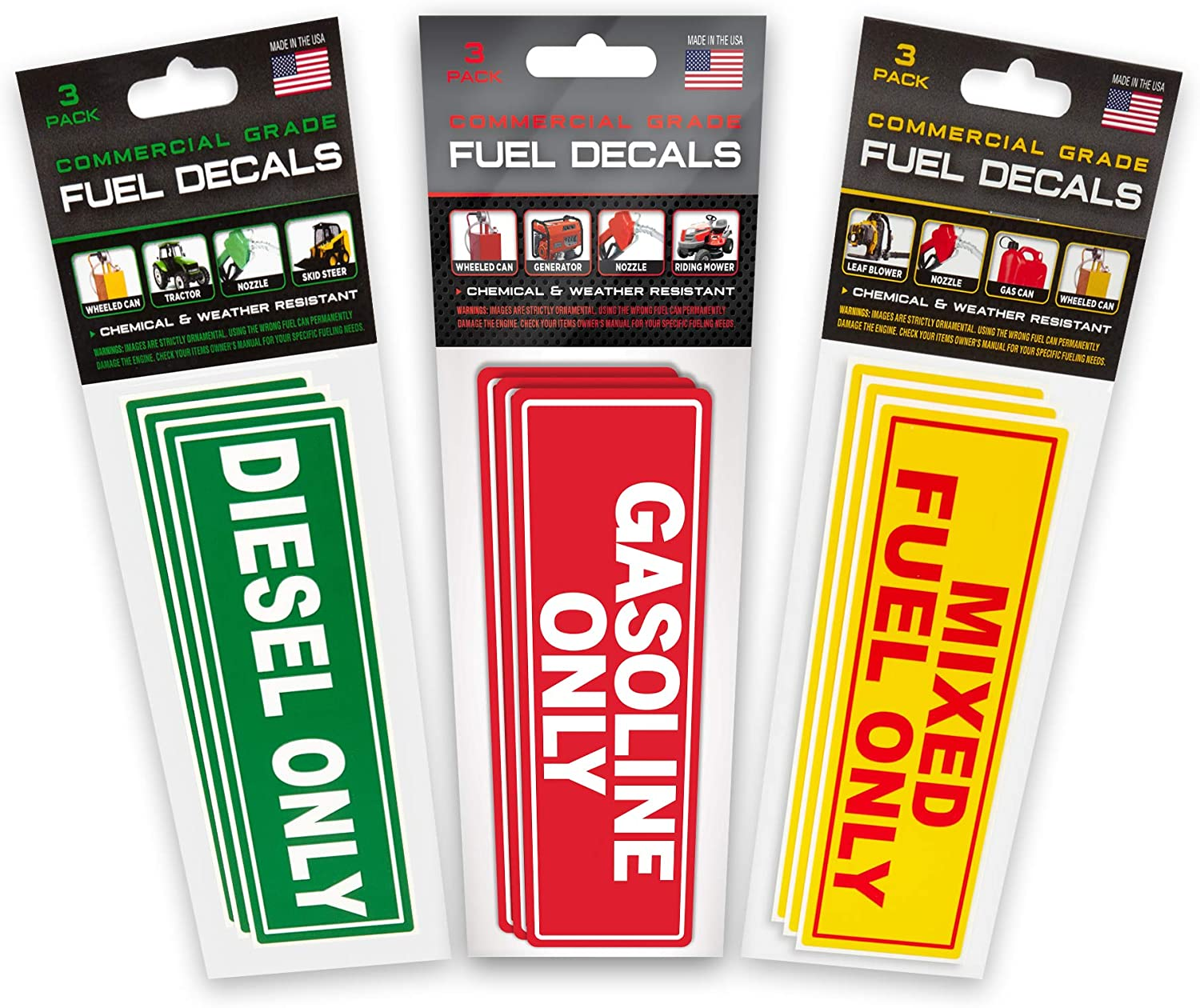 Weather Resistant 6x2 9 Stickers Total andGas Only Stickers 1 Pack of 3 Stickers Each Commercial Grade Decals Ultra Durable Diesel Only,Mixed Fuel Only