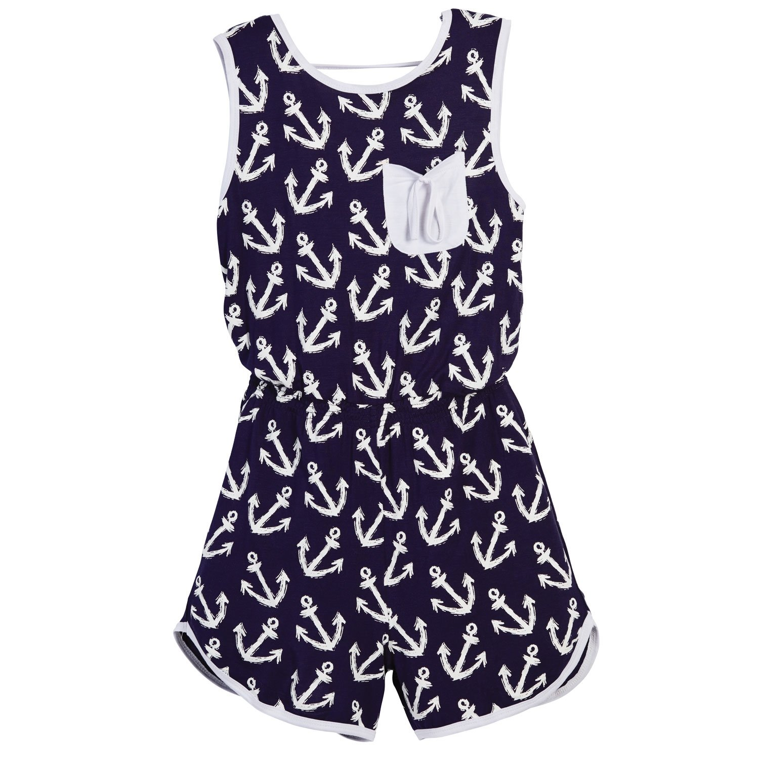 Beachcombers Girl's Tops Rayon/Spandex Anchor Romper Navy/White Large