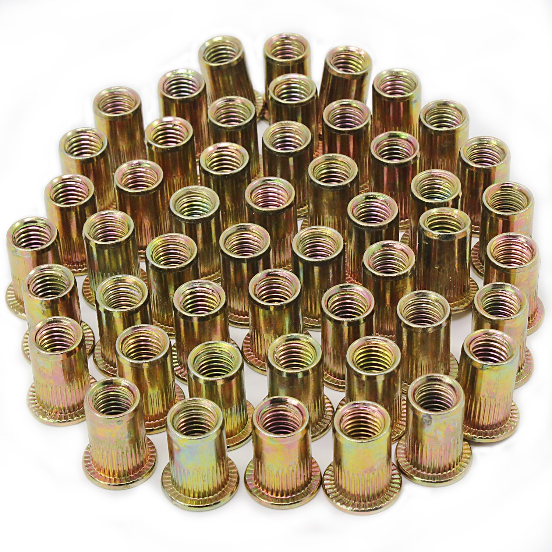 Remaches de tuerca chapados en acero de carbono M8, rosca plana, 50 unidades HSeaMall