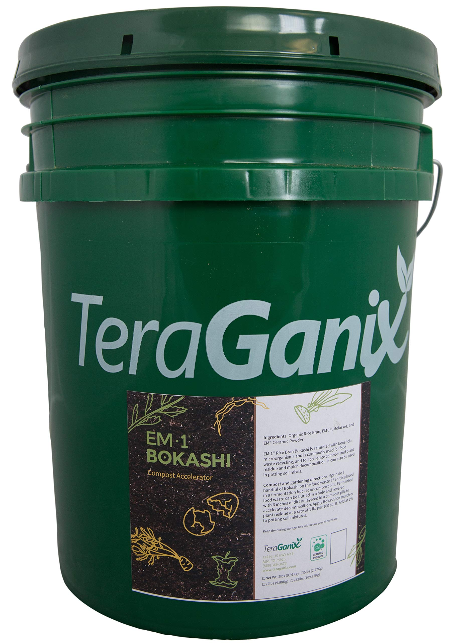 TeraGanix Bokashi EM-1 Organic Rice Bran Mix | 22lbs. - Dry Powder to Compost Food & Pet Waste Indoors for Better Planting Soil