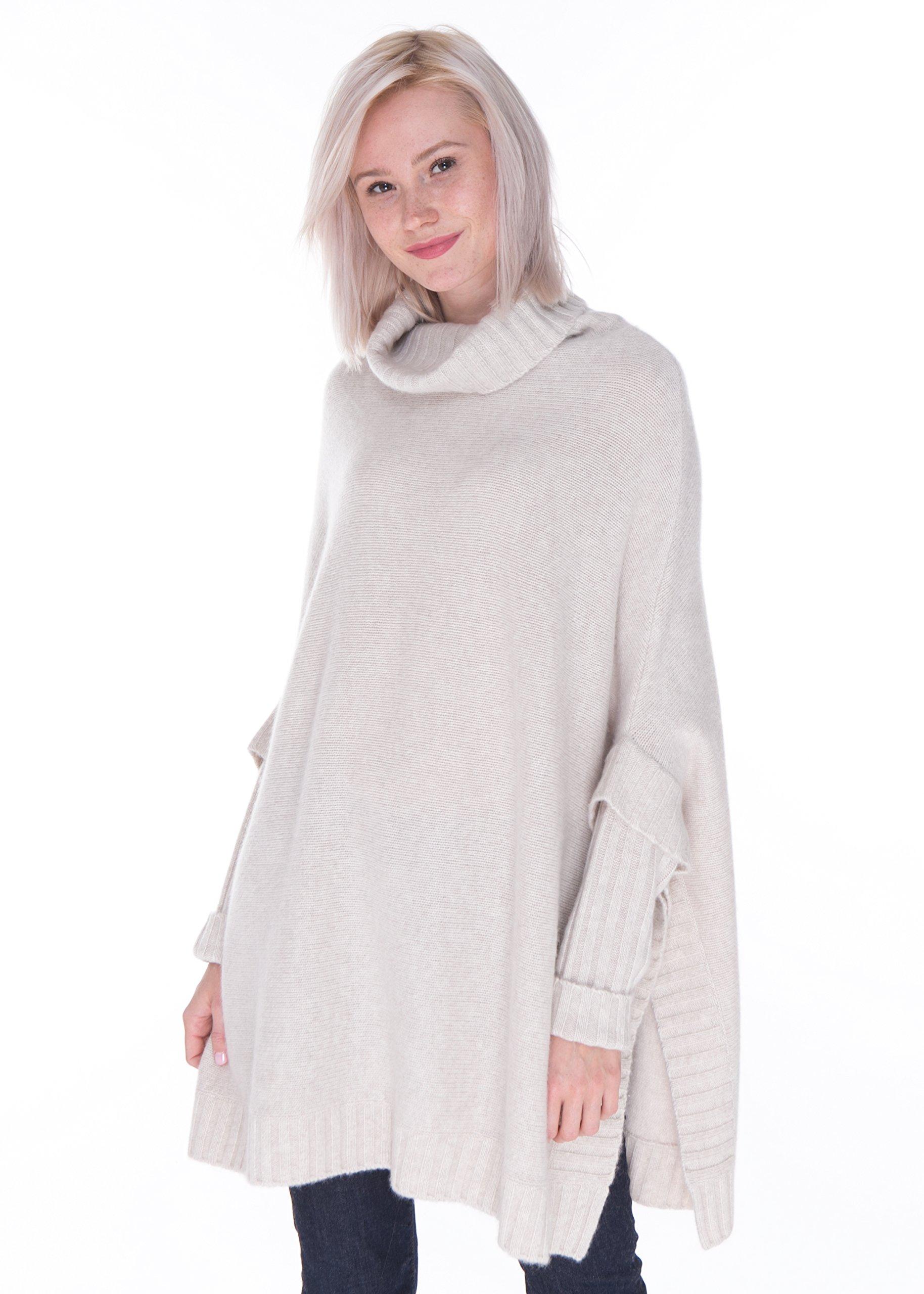 LEBAC women's 100% Cashmere Turtleneck Oversized Poncho Sweater