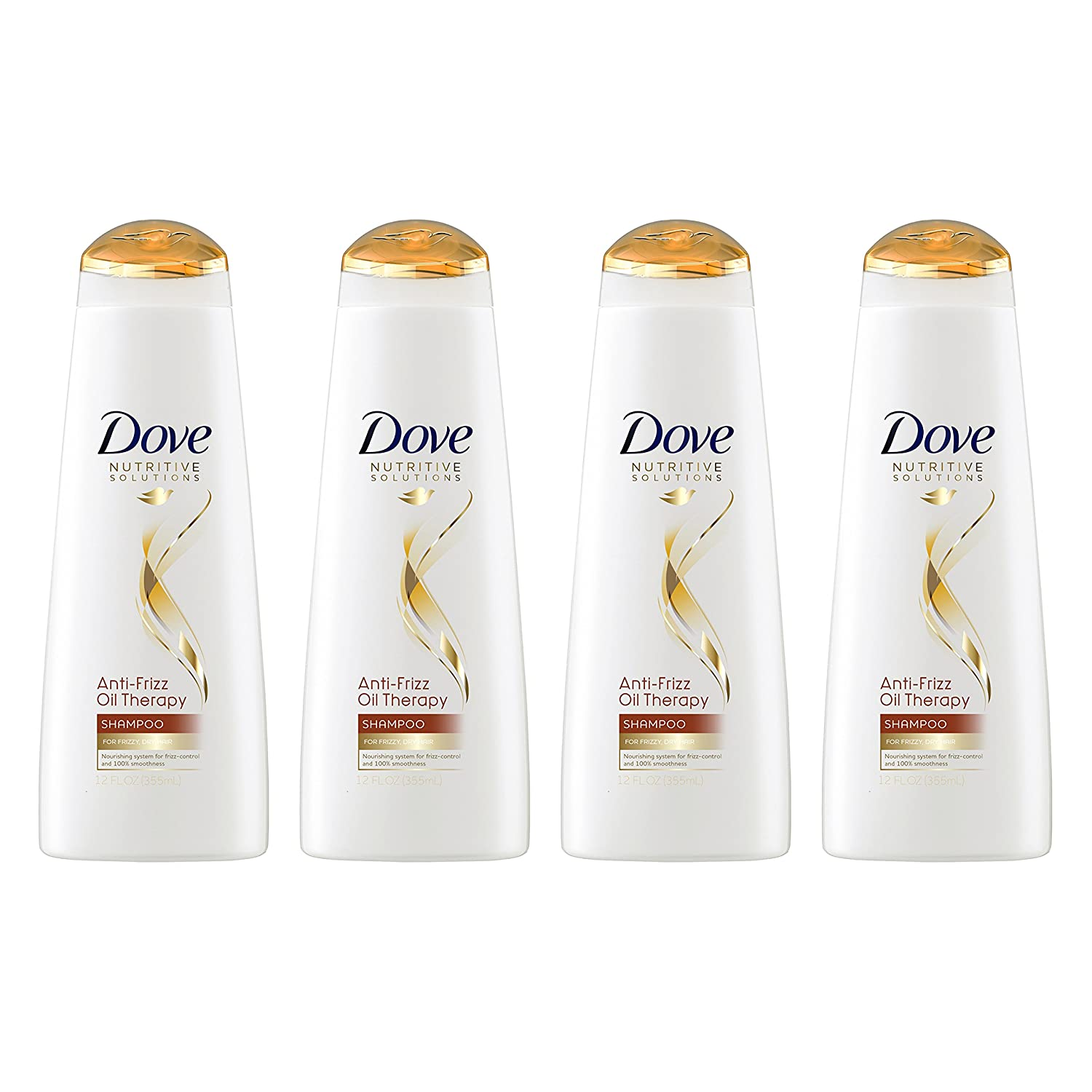 Dove Nutritive Solutions Shampoo, Anti-Frizz Oil Therapy 12 Fl Oz, Pack of 4