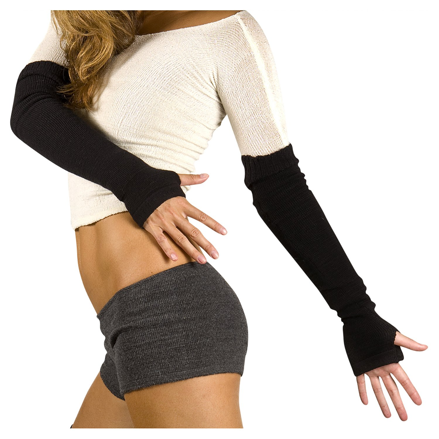 Black Arm Warmers by KD dance Warm Cozy Stretch Knit Thumb Hole Made In USA