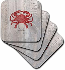 3dRose CST_99167_1 Red Crab on Wood- Beach Themed Art- Fish-Soft Coasters, Set of 4