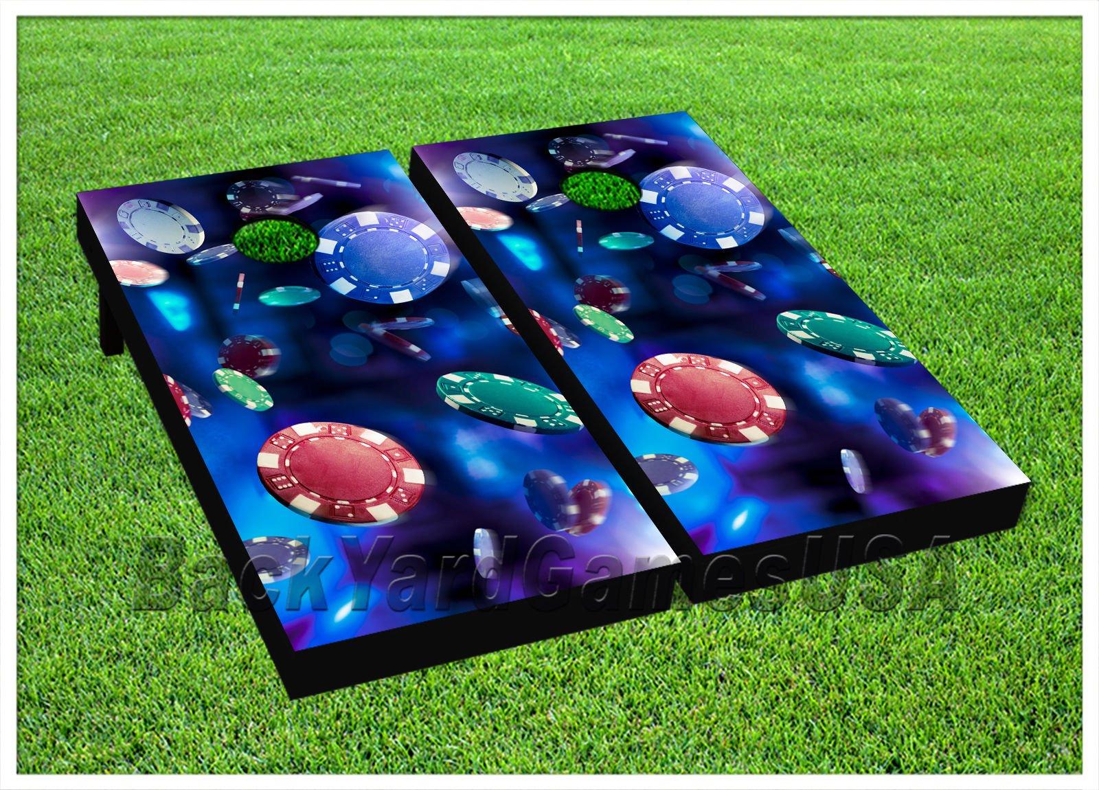 CORNHOLE BEANBAG TOSS GAME w Bags Game Boards Poker Chips Casino Blue Set 968