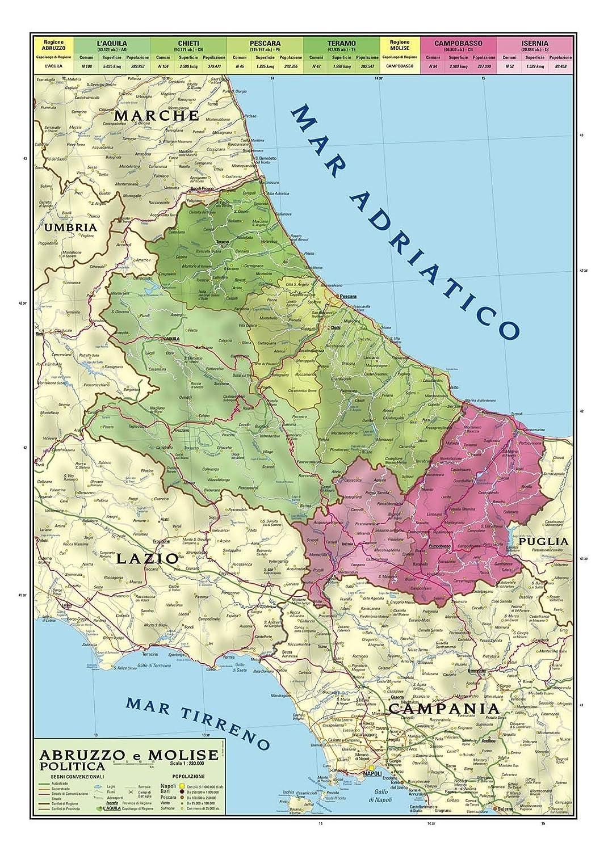 Cartina Dell Umbria Fisica.Carta Geografica Murale Regionale Abruzzo Molise 100x140