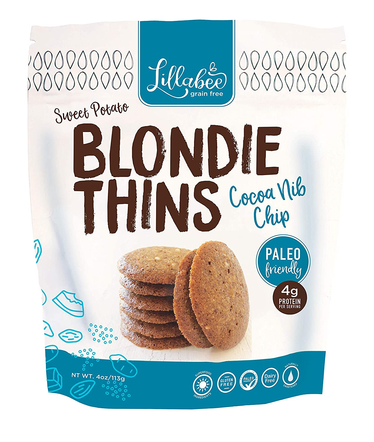 Lillabee Cocoa Nib Chip Blondie Thins Paleo Friendly, Gluten Free, Carb Smart, Healthy Snacks, High Protein, Crunchy Cookies , Grain, Soy and Dairy Free, 4oz bag (3 Pack)