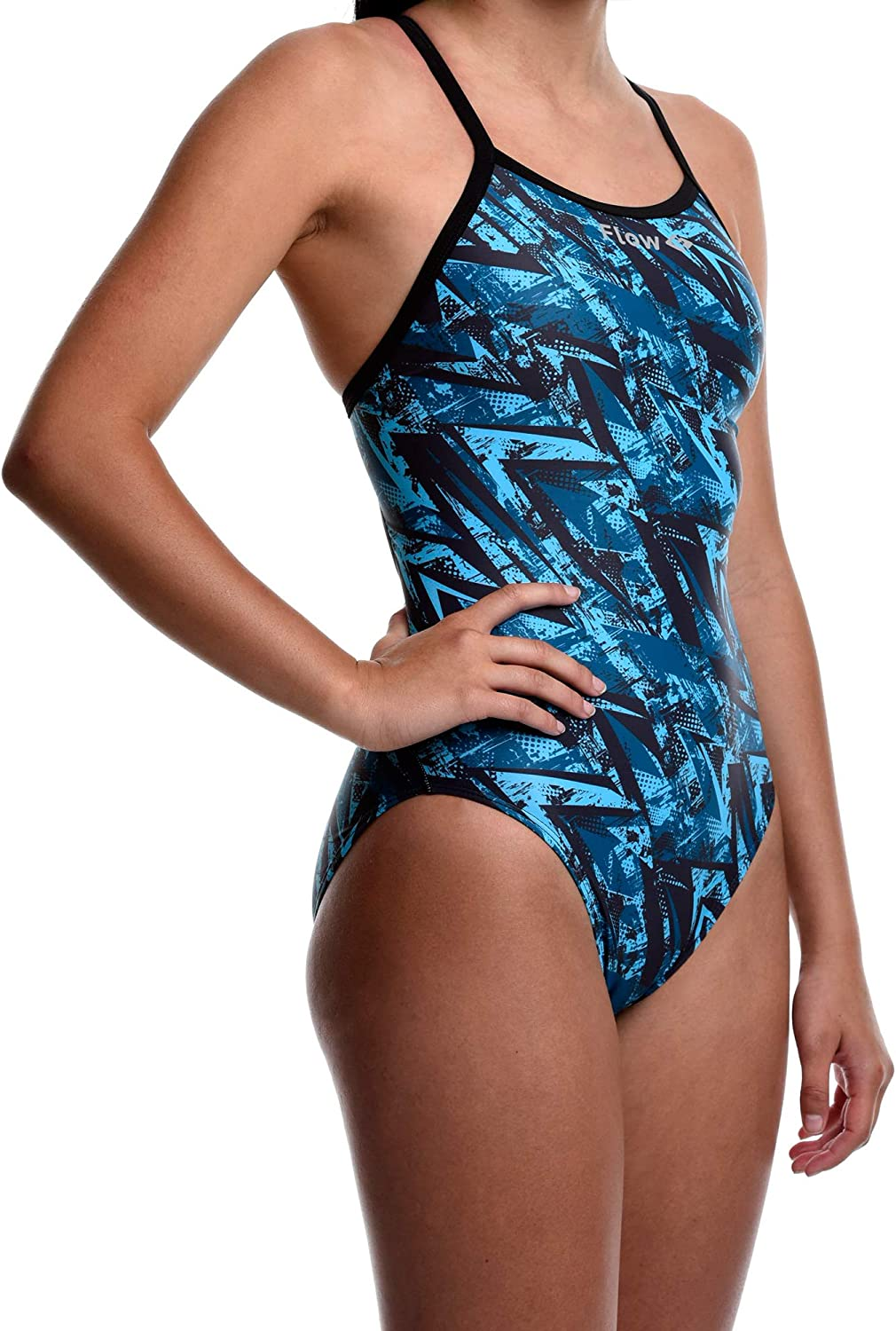 Flow Funky Swimsuits for Girls Size 23 to 30 One Piece Competition Swim Suit in Eight Rad Swimsuit Designs