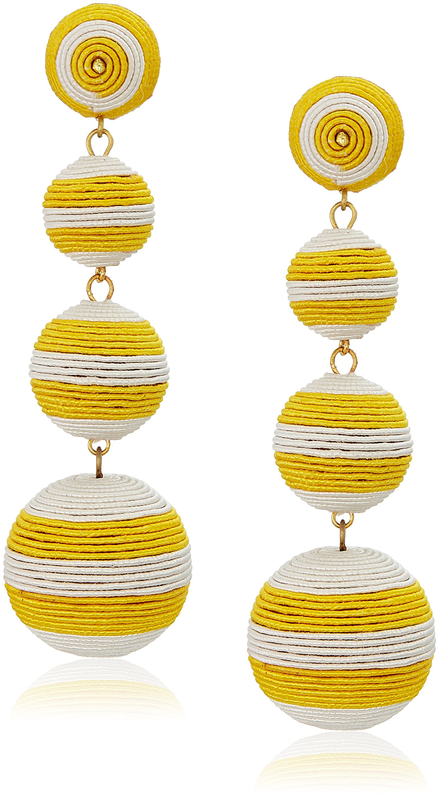 Kenneth Jay Lane Yellow White Stripe Thread Matte Drop Earrings