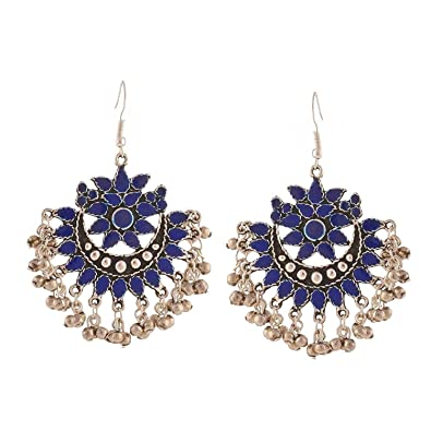 a29c68fb8 Buy Crunchy Fashion Jewellery Tribal Collection Oxidised Silver Afghani  Dangle and Drop Earrings for Women Online at Low Prices in India | Amazon  Jewellery ...