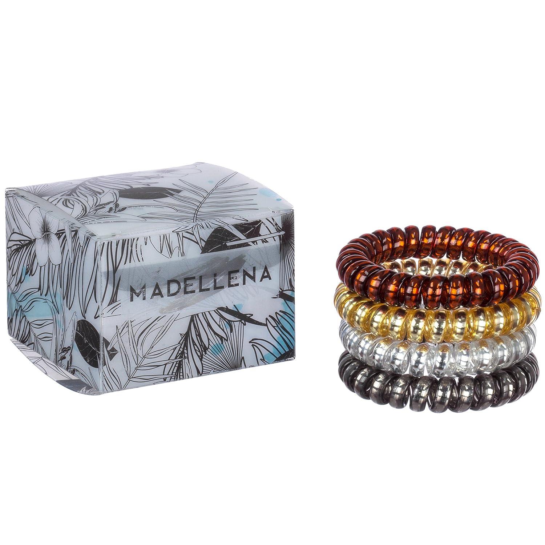 Bandas elásticas para el cabello con diseño en espiral, ideales como regalo, paquete de 4 unidades Madellena