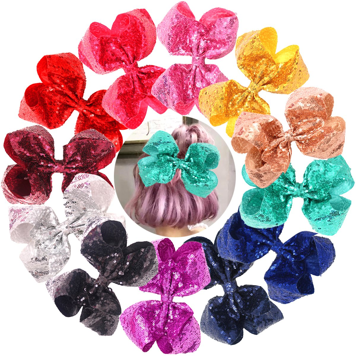 Bling 8 Inch Big Sequins Hair Bows Alligator Clips for Girls, Toddlers, Teens, Senior, Women Any Occassion Pack of 12 CELLOT