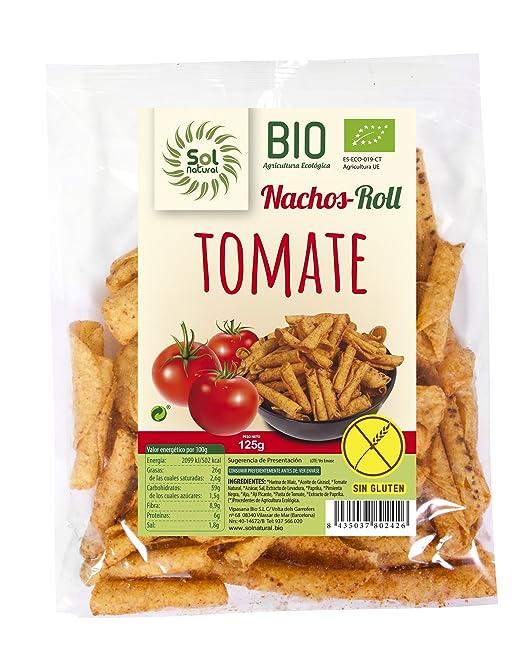 Sol Natural Nachos de Maíz Roll Tomate, sin Gluten - Paquete de 24 x 125