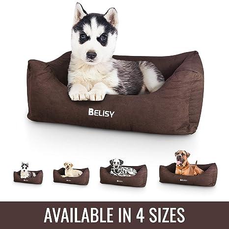 Cama para perros Antari de Belisi, de terciopelo suave, funda extraíble y lavable