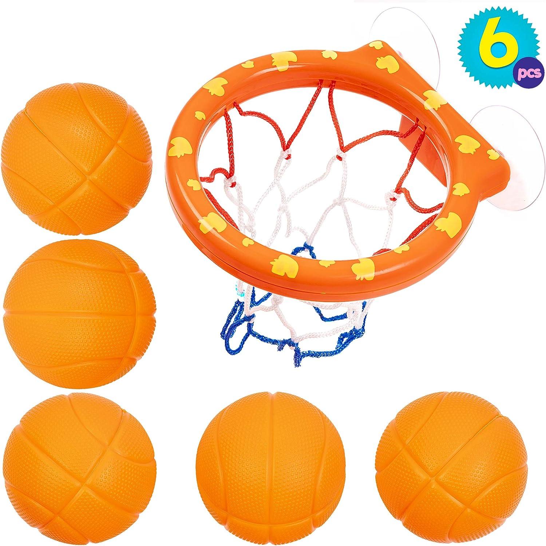 Juguetes de 5 Balones y Red de Baloncesto para el Baño - Juguete de Baño para Bebé y Niños - Juego Educativos Y Accesorios - Ideal para niños Actividad en interiores y exteriores