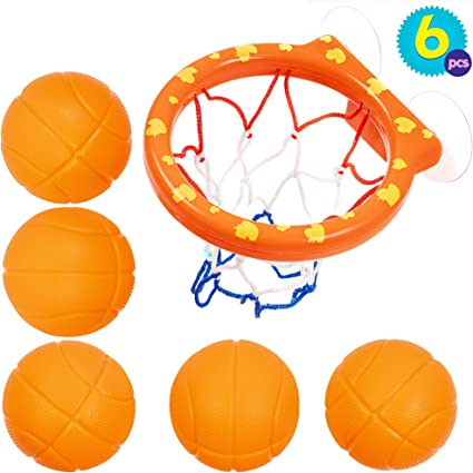 Juguetes de 5 Balones y Red de Baloncesto para el Baño - Juguete ...