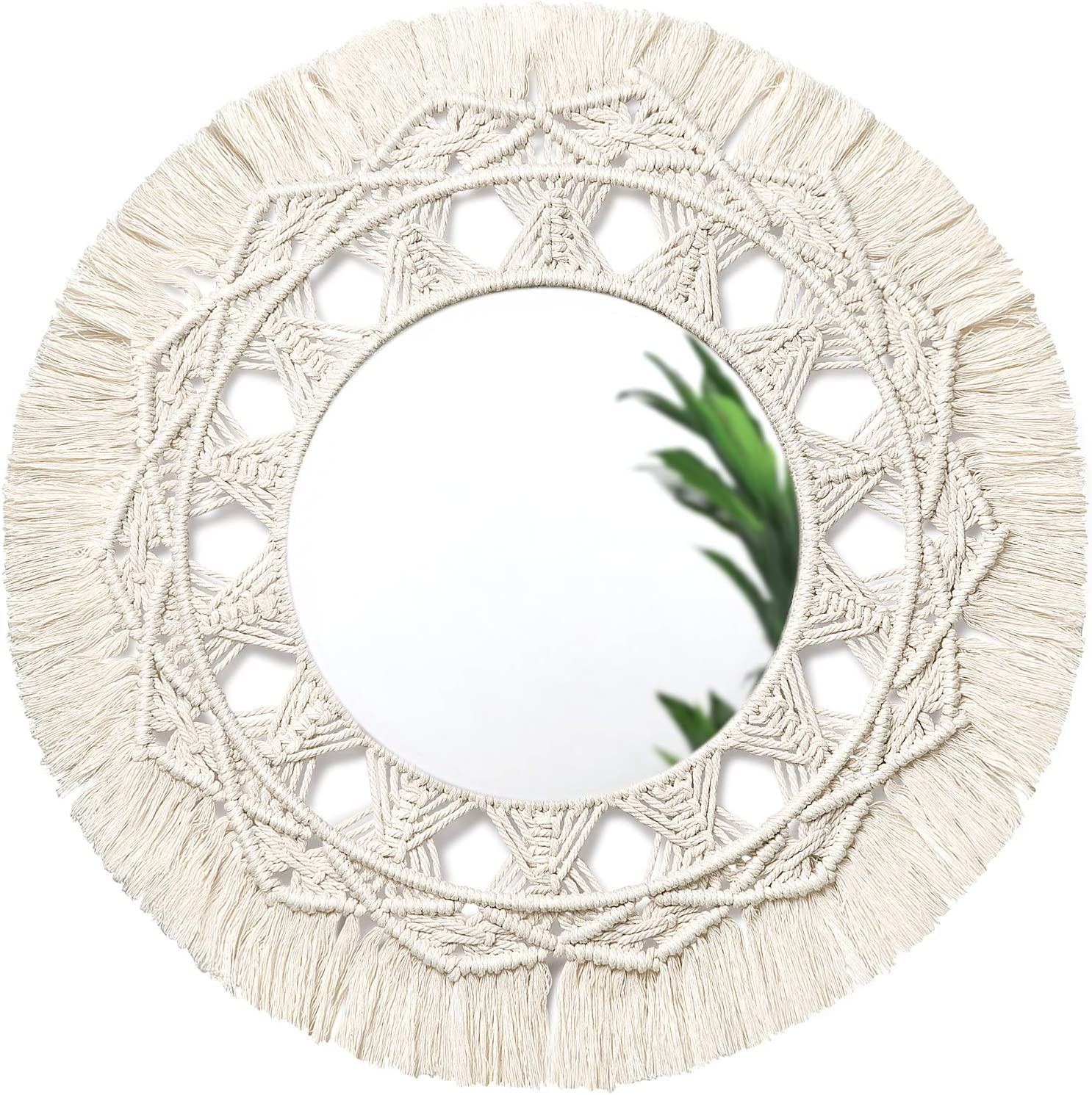 """Dahey Macrame Hanging Wall Mirror with Boho Fringe Round Decorative Mirror for Apartment Home Bedroom Living Room Decor, 18.5"""" W × 18.5"""" L"""