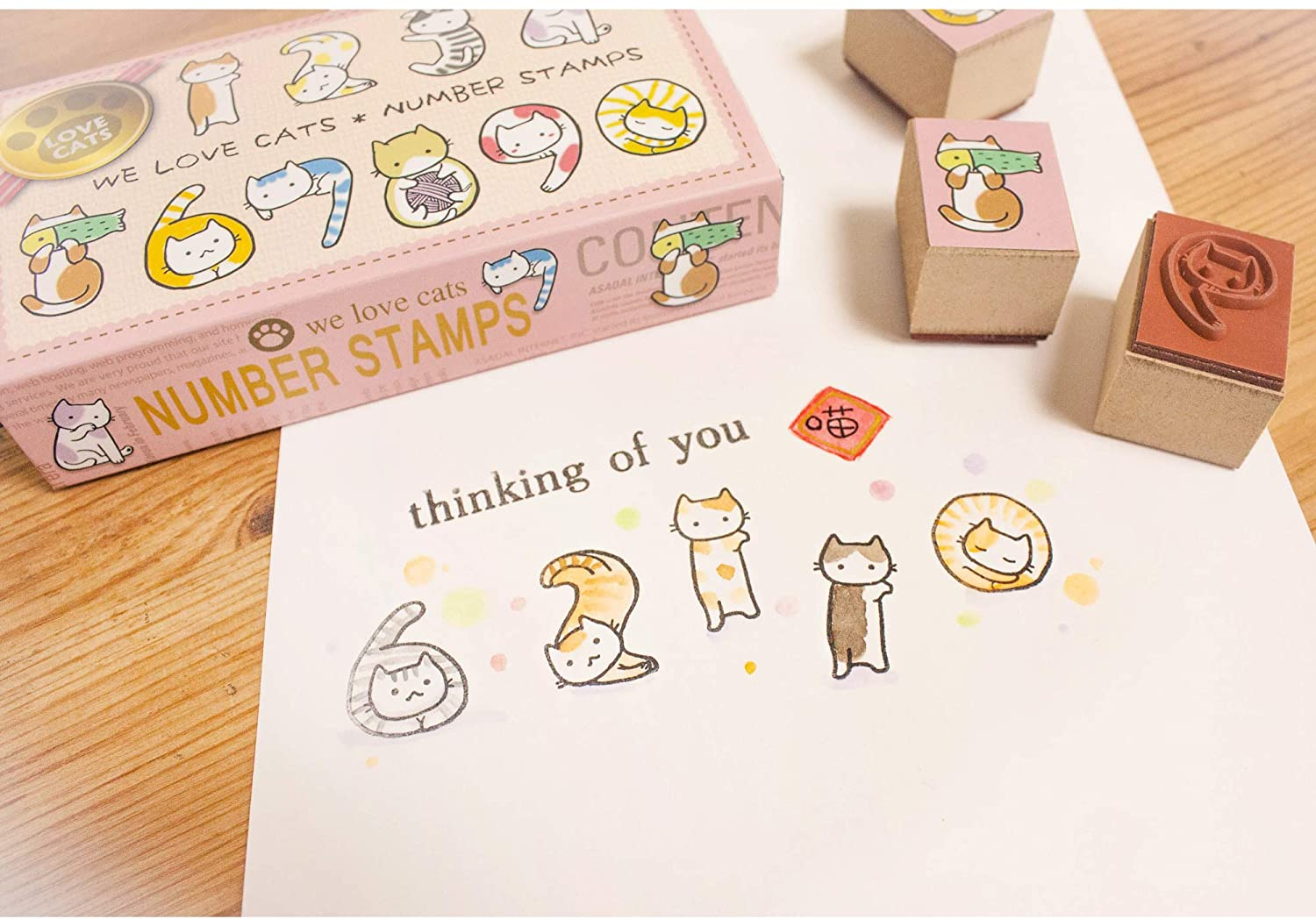 Micia Crafts We Love Cats Numbers Wooden Rubber Stamps